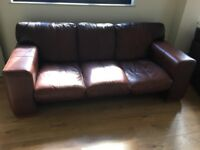 Brown Leather Three Seater Sofa D=95cm, H= 80cm and L = 209cm