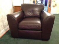 Brown leather Next arm chair