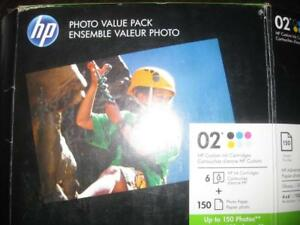 HP 02 Ink for HP Photo Smart All in One Printer with 150 Sheet Photo Value Pack. NEW