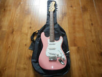 Stagg 6-String Electric Guitar (3/4 size, pink) with soft case