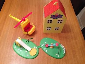 Peppa Pig Fold-Out Play House, Miss Rabbits Helicopter, See-Saw & Slide Park accessories!
