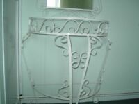 Vintage Wrought Iron Console Table & Mirror.