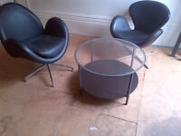 leather armchair with coffee table can deliver