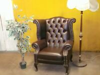 LEATHER QUEEN ANNE ARMCHAIR