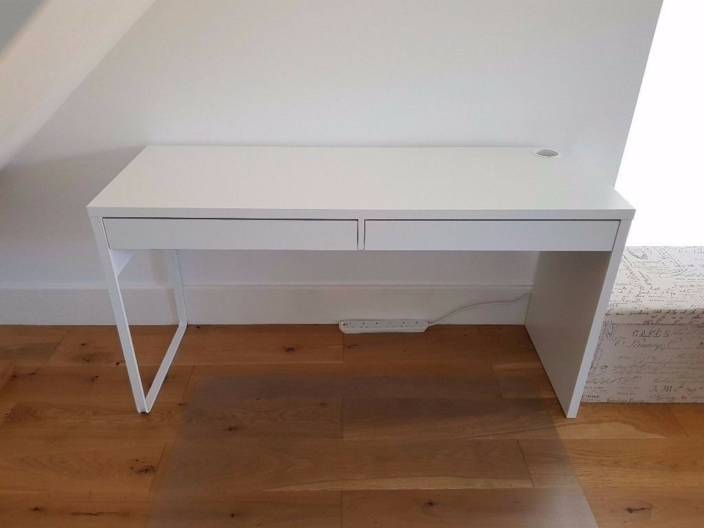 Ikea micke desk computer home office in white black brown x