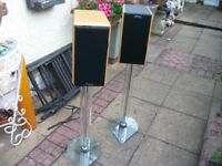 MISSION 751, ROSEWOOD SPEAKERS WITH ATACAMA GLASS SPEAKER STANDS.