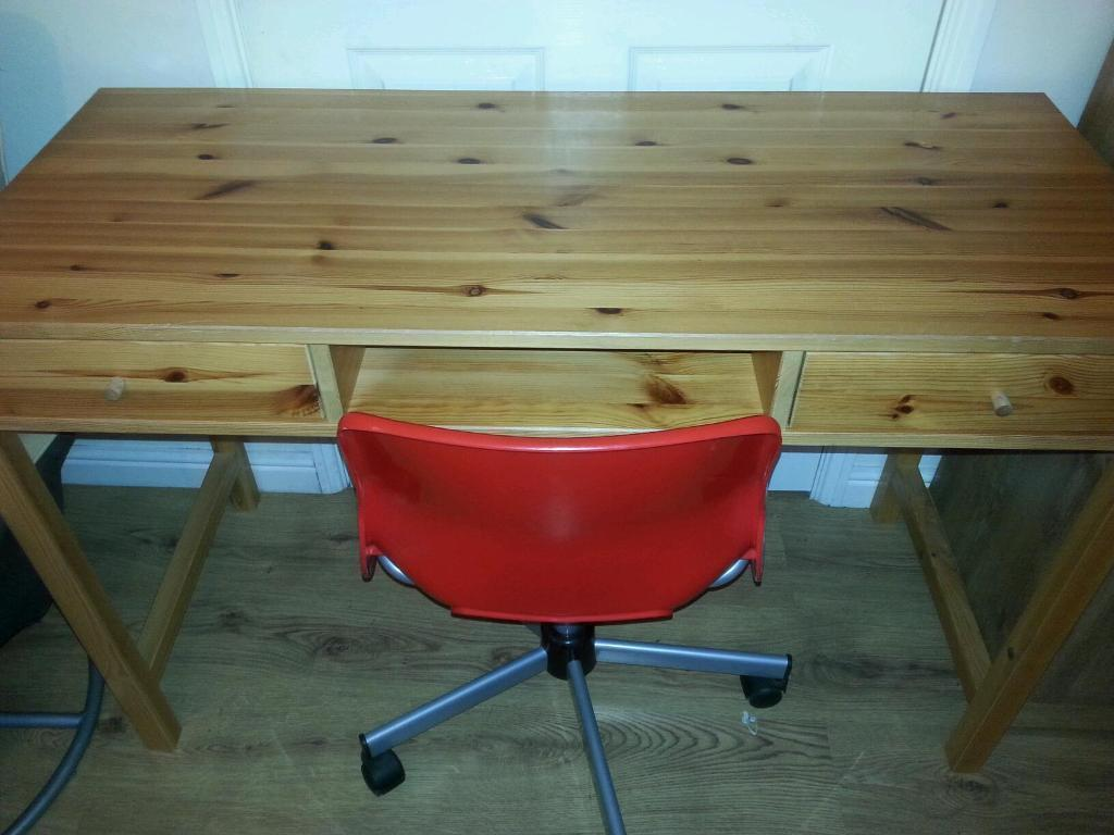 Solid pine desk and ikea swivel chair in leyland for Pine desk ikea