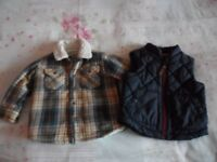 Next lumberjack style jacket and navy body warmer 6-9 months