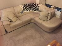 REDUCED Cream Leather corner sofa and electric recliner