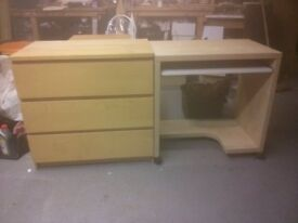 3 draw Malm chest of draws and a computer desk.