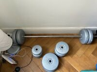 York weights set - barbell and 45kg weight plates