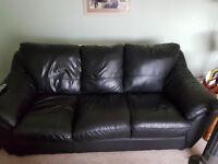 Italian black leather 3 seater sofa