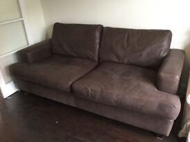 Large brown nubuck leather sofa, from Sofa Workshop