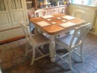 vinage solid oak shabby chic drawer leaf table and four chairs farrow & ball