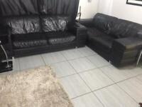 3 seater black leather sofa , Italian leather .