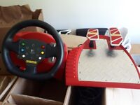 Boxed Logitech pc steering wheel and pedals. Force feedback. Rare red.