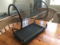 Black Metal Two Tier Dish Drainer / Sink Rack