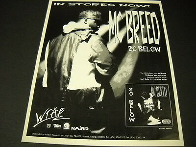 MC BREED 20 Below is in stores now Vintage PROMO POSTER AD mint condition