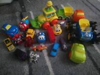 Selection of 20 vehicles, mini transformers, cars, tractors, helicopter