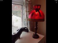 Vintage hand painted boudoir table lamp