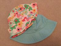 2 x Girls summer hats from Next in blue & elephants ! Brand new size 5 - 6 years