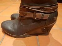 Ladies Long Boots Wedge Heal Mustang