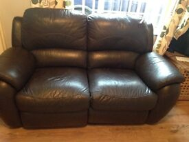 2 Seater Brown Leather recliner Sofa *reduced price*