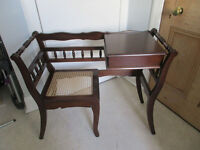 Solid wood telephone table with lattice seat.