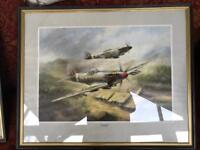 2 x spitfire Mitchell prints with certs on back