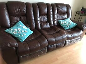 3 Leather settee/reclining