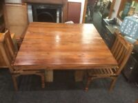 Solid Wood Dining Room Table And Two Chairs