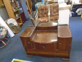 vintage dark wood dressing table and large mirror.