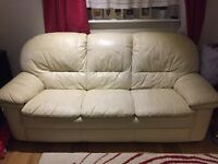 Creamy leather sofa