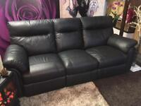 Black 3 Seater Leather Recliner Sofa Delivery Available on your Sofa for Christmas