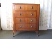 VINTAGE LEBUS MAHOGANY VENEER FOUR DRAWER CHEST OF DRAWERS FREE DELIVERY