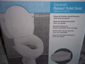 """Savannah Raised Toilet Seat with lid - 100mm (4"""") New in Box"""