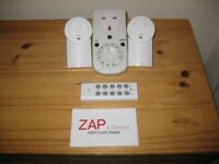 Three Programmable Remote Control And Manual Mains Plug Timer Sockets.