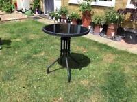 Black Glass and Metal garden table
