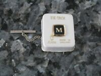 "MENS VINTAGE STRATTON LETTERED / INITIALED ""M"" GOLD TIE CRAVAT PIN STUD TACK"