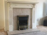 Used gas fireplace with marble surround