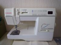 singer sewing machine ex cond, with hard cover, pedal, instructions