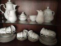 White dinner service over 50 items. Perfect condition