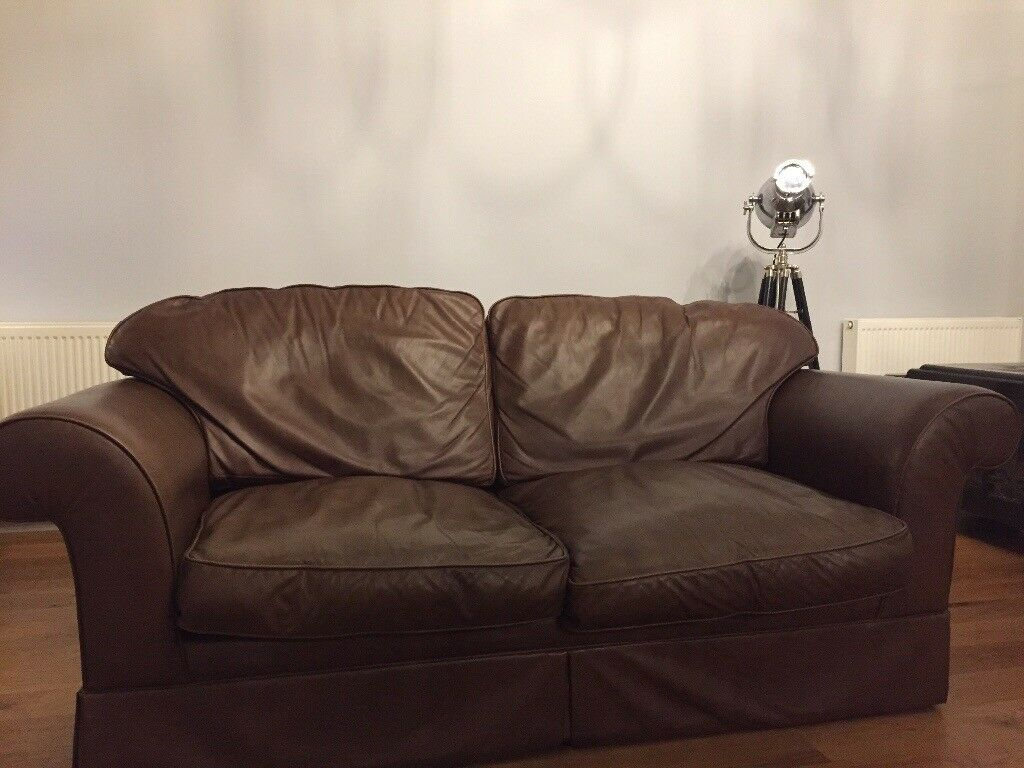 Laura Ashley Large Two Seater Brown Leather Sofa Bed In
