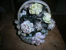 A loverly capodimonte basket of flowers