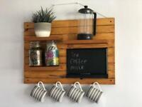 Wooden coffee/tea cup holder display