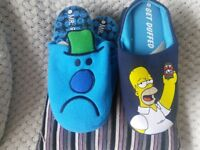 2 PAIR men's mule slippers new size 9 to 10 Mr grumpy & Hommer Simpson birthday or father's Day gift