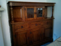 Court cupboard, Corner drinks cabinet,TV media cabinet solid oak as new condition made by Jaycee