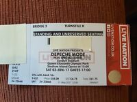 One General admission ticket for Depeche Mode Sat 3rd June 2017