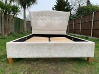 Laura Ashley Ashdown High Winged Velvet 4ft6 Double Size Bed Frame- Great Condition