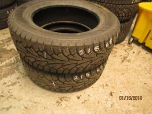 215/65R17 2 ONLY USED HANKOOK I PIKE WINTER TIRES